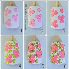 Image may contain: 1 person Rose Nail Art, Pink Nail Art, Floral Nail Art, Rose Nails, Nail Polish Art, Flower Nails, Nail Art Diy, Diy Nails, Flower Nail Designs