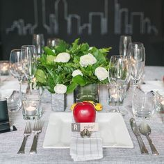 Take a bite out of the big apple with this beautiful urban, modern New York loft inspired shoot by and photography by . Wedding Theme Inspiration, New York Loft, Loft Style, Wedding Colors, Dream Wedding, Table Settings, Events, Urban, Apple