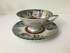 SOLD - Vintage Chase Japan Lusterware Purple Pansy Tea Cup and Saucer Hand Painted #Chase