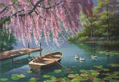 2017 New Diamond Painting Cross Stitch 3 Ducks and Boat Diamond Oil Painting Summer Landscape Round Diamond Embroidery 70116 Landscape Pictures, Landscape Paintings, Pretty Pictures, Art Pictures, Art Background, Beautiful Landscapes, Land Scape, Folk Art, Watercolor Paintings