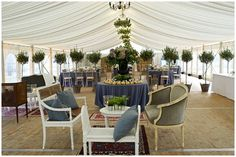 Creative a chic and elegant space within a marquee wedding © www.weddings.davidwittig.com/