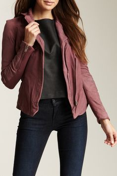 Amissus Fitted Leather Biker Jacket by Muubaa on @HauteLook