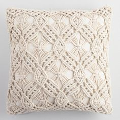 World Market Natural Macrame Indoor Outdoor Throw Pillow