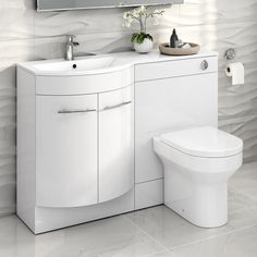 Modern Bathroom White Vanity Unit Countertop Basin + Back To Wall Toilet MV1614