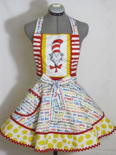 The Cat in the Hat Apron  Birthday Party Funky by AquamarCouture, $54.95