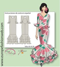 Flamenco printed dress. Clothing Patterns, Dress Patterns, Spanish Dress, Lace Dress Styles, Gown Pattern, Diy Fashion, Fashion Design, African Fashion Dresses, Dance Outfits