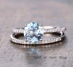 $559 Round Aquamarine Engagement Ring Sets Pave Diamond Wedding 14K White Gold 7mm