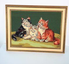 """Trio of Cats needlepointFrame 19 x 24 """"Vintage Needlepoint Framed completed needlepoint 2 KittensNicely stitched older piece. Frame shows wear and small nick damage. Backing paper on.Frame only no glassVintage needlepoint handmade Cat Art, Needlepoint, Cats And Kittens, Renaissance, Framed Art, Stitch, Canada Eh, Handmade, Painting"""