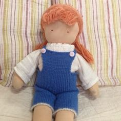 Knitty Bitty and Witty: PATTERN: OVERALLS FOR 16 INCH WALDORF DOLL (English)