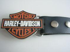 Harley Davidson motor cycles shield belt buckle with genuine leather snap on belt Waist 28 - 52 -  biker buckles belt buckles by Festivalfashionstall on Etsy