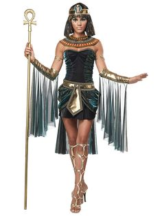 Teal & Black Egyptian Goddess Costume - Womens Egyptian Costumes