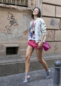 I need pink shorts and bag, floral outerwear and that evil queen printed t! Matching heels color to the tee. So pastel cute.   Sao Paulo. Lee Oliveira