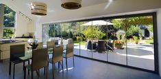 Frameless Glass Doors Clearline frameless glass bifolding doors are designed to fit together without the ugly obstruction of a frame, creating a beautiful, Curtains For Bifold Doors, Sliding Patio Doors, Folding Doors, Sliding Glass Door, Entrance Doors, Barn Doors, Stacker Doors, Glass Extension, Extension Ideas