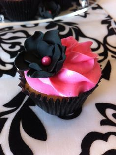 Cupcake with Cerise Pink Buttercream & Black Fondant Flower