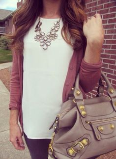 Simple shirt, cardigan and jeans with statement necklace and statement bag