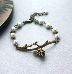 A Golden Pinecone Branch Twig Oxidized Brass Bracelet. by Marolsha