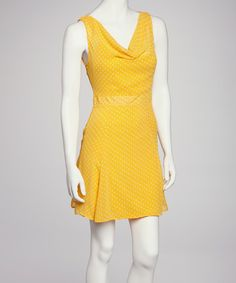 Take a look at this Yellow Polka Dot Drape Neck Dress by Jazzy Martini on #zulily today!