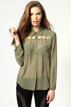 Zoe Sheer Cut-Out Shirt with Gold Detail