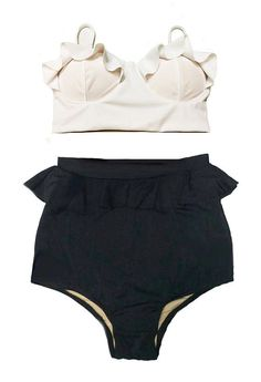 White Midkini Top and Black Peplum High Waisted by venderstore