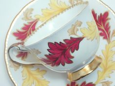 Royal Chelsea Vintage Fine Bone China Tea Cup and Saucer Fall Autumn Red Gold Yellow Brown Leaves Leaf Dotted Gold Trim-1950s