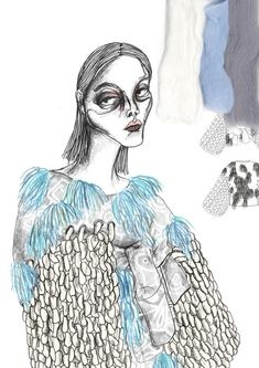 A different approach to design illustrations. It's much more expressive. The figure's face is very dark and has a pop of blue. Textiles Sketchbook, Fashion Sketchbook, Drawing Fashion, Fashion Design Portfolio, Fashion Design Sketches, Fashion Illustration Collage, Illustration Art, Fashion Illustrations, Design Illustrations