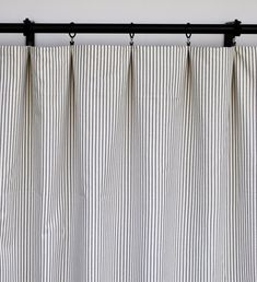 Magnolia Curtains Striped Charcoal Curtain 2 Curtain | Etsy