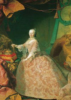 Martin van Meytens: Maria Theresa in pink lace dress, oil painting, circa 1755