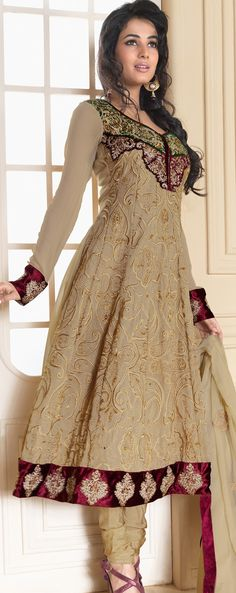 Bisque Faux #Georgette #Churidar #Kameez | @ $138.69