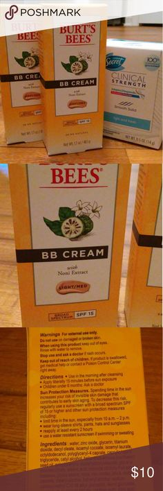 Burt's Bees BB Cream (2) 2 new Burt's Bee's BB Cream, light/medium color. Travel size Secret deodorant included. Burt's Bees Makeup