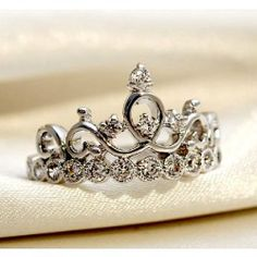 925 Sterling Silver Crown With Crystal Women's Ring - USD $40.95