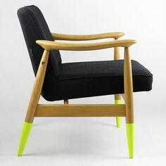 fotel polski design retro neon czarny lata 60 70