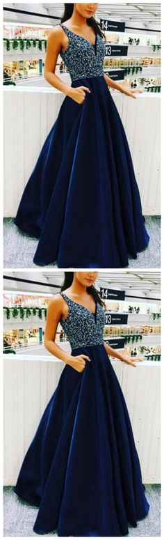 Dark Blue Prom Dress,V-Neck Prom Gown,Long Prom Dress,Satin Prom Dresses,Beaded Evening Dress with Pockets P1638