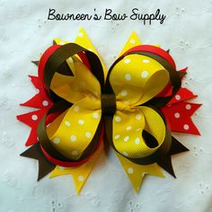 Curious George Inspired Red, Yellow, Brown hair bow stacked boutique bow on Etsy, $4.50