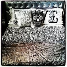 Perfect #smallspacestyle with this black and white look, featuring Downtown Lace, a sparkly grey throw, skull pillow, and party like a rockstar. #perfection #dorm