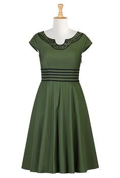 Embellished dip neck poplin dress - Love the neckline and the lines around the waist.  - from eShakti