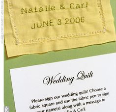 A wedding quilt.  Have guests choose a fabric square and use a fabric pen to sign their names along with a message.  Sew together later for a lasting momento to be used in the home.