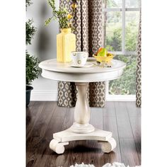 Furniture of America Madelle Traditional Pedestal Base Round Side Table (Antique White), Beige Off-White