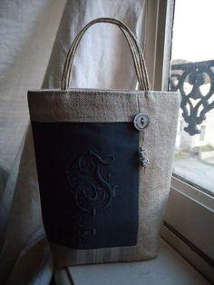 Linen in two colors Tote Handbags, Leather Handbags, String Bag, Jute Bags, Linen Bag, Denim Bag, Fabric Bags, Quilted Bag, Handmade Bags