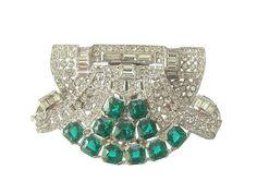 Art Deco Brooch Dress Clip Vintage Emerald by GildedElegance, $195.00