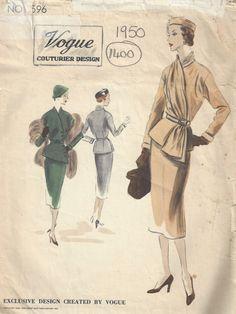 1950 Vintage VOGUE Sewing Pattern B40 SUIT DRESS Skirt Jacket