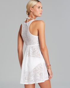 J. Valdi Mesh Jacquard V Neck Swim Cover Up Dress | Bloomingdale's