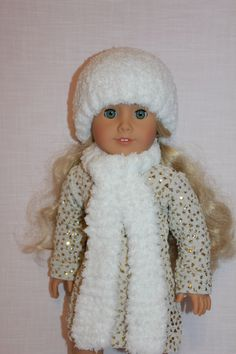 18 inch doll clothes, sparkly mini dress, snowball style hat and matching scarf, red and white booties, ,  american girl, Maplelea by UpbeatPetites on Etsy