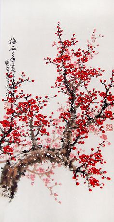 Original painting chinese art Lovely cherry blossom tree by art68, $80.00