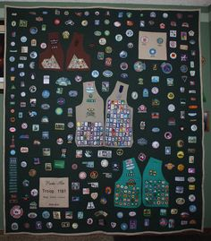 How to preserve 12 years of Girl Scout memories? I had the quilt made,then cut the backs of the vests. Sewed on vests with badges in place. Then sewed on all the patches she had earned or received on trips, awards, etc. (The Pins we put in a shadow box.)