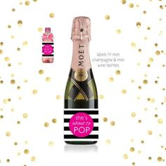 Pink She's About To Pop - Mini Champagne Baby Shower Favor Labels - Print It Baby Mini Champagne Bottles, Champagne Label, Mini Bottles, Cute Baby Shower Ideas, Simple Baby Shower, Baby Shower Food For Girl, Girl Shower, Baby Shower Prizes, Baby Shower Party Favors