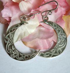 Boucles d'oreilles Lune celtique, bijou celte croissant de lune en argent