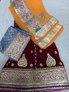 Colourful border work, kalidar lehenga. Embellished with gota patti and fine mundane work.