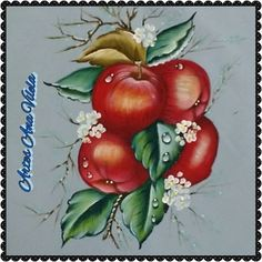Artes Ana Vilela : Pintura em tecido maçãs
