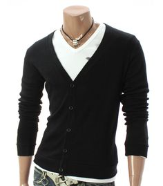 Youstars Mens Casual V-neck Button Cardigan Sweater