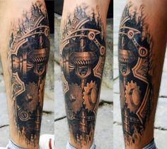 Calves biomechanics 3D tattoo  - http://tattootodesign.com/calves-biomechanics-3d-tattoo/  |  #Tattoo, #Tattooed, #Tattoos